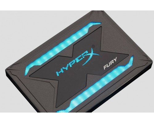 "Твердотельный диск 960GB Kingston SSDNow HyperX FURY, 2.5"",SATA III,[R/W-540/480MB/s] 3D TLC,Marvell 88SS1074, подсветка"
